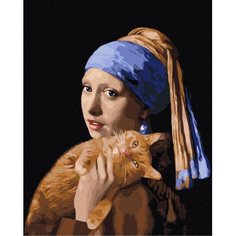 "Картина за номерами ""Дівчина з рудим котиком"" Brushme"