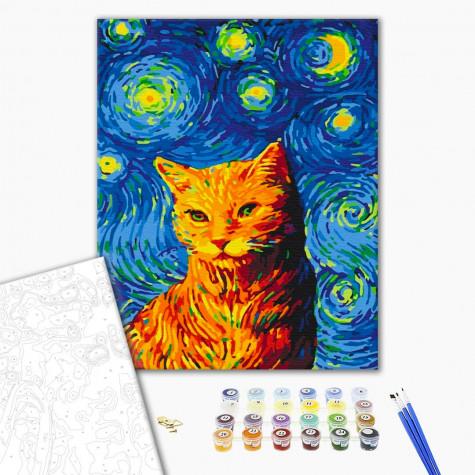 """Картина за номерами """"Кіт в зоряну ніч"""" Brushme"""
