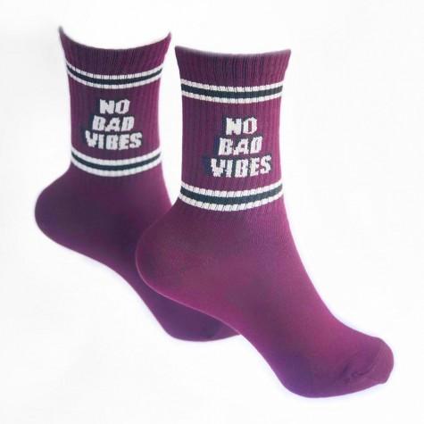 """Шкарпетки бордові """"No Bad Vibes"""" 1and1"""