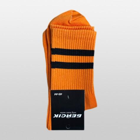 """Носки базовые """"Оранжевые с черными полосками"""" Бейсик"""