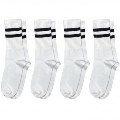 Набір шкарпеток 4 пари білі з чорними смугами Бейсік
