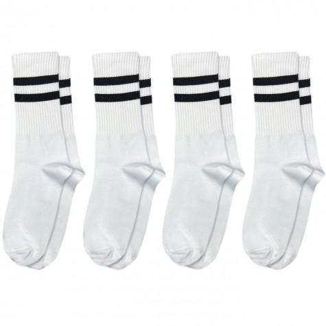 Набор носков 4 пары белые с черными полосками Бейсик