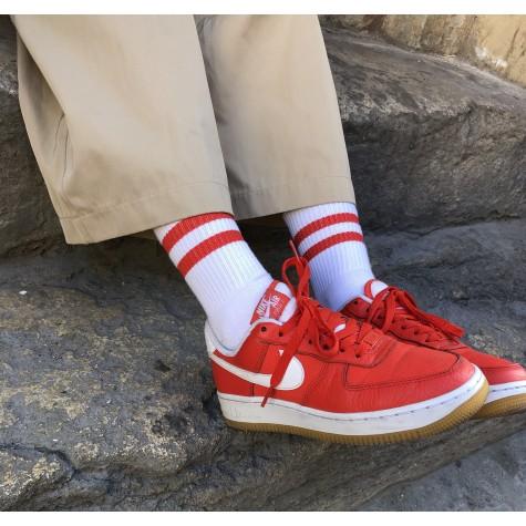 "Носки базовые ""Белые Red Stripes"" Бейсик"