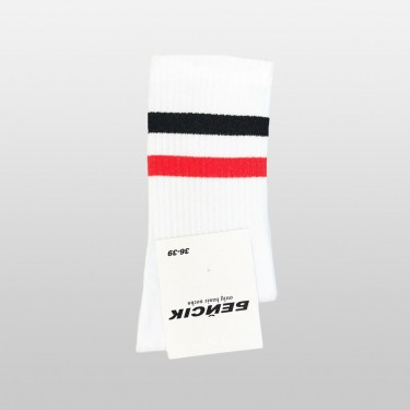 "Носки базовые ""Белые Black-Red Stripes"" Бейсик"