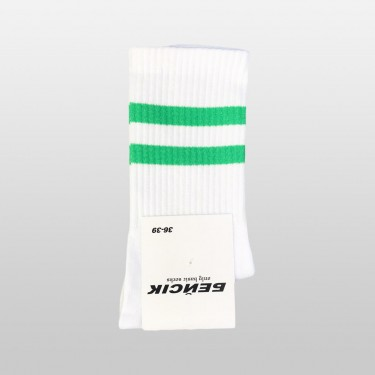"Носки базовые ""Белые Green Stripes"" Бейсик"
