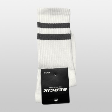 """Носки базовые """"Белые с серыми полосками"""" Бейсик"""
