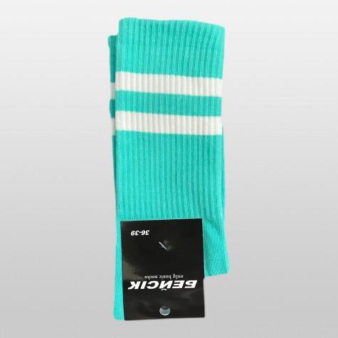"""Шкарпетки базові """"Бірюзові з білими смугами"""" Бейсік"""