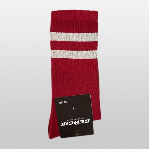 """Шкарпетки базові """"Бордові з білими смугами"""" Бейсік"""