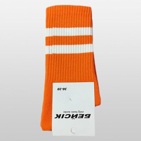 """Носки базовые """"Оранжевые с белыми полосками"""" Бейсик"""
