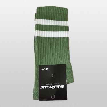 """Шкарпетки базові """"Зелені з білими смугами"""" Бейсік"""