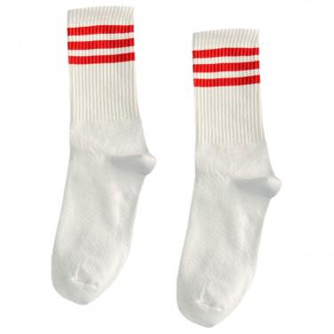 """Шкарпетки базові """"Білі з трьома червоними смугами"""" Blankful"""