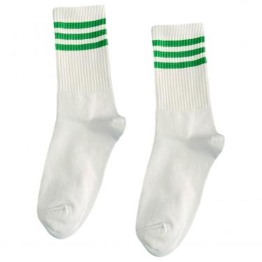 """Носки базовые """"Белые с тремя зелеными полосками"""" Blankful"""