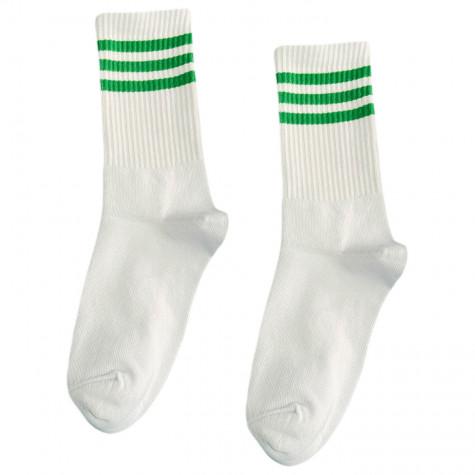"""Шкарпетки базові """"Білі з трьома зеленими смугами"""" Blankful"""