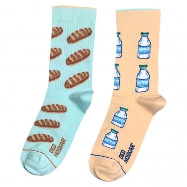 """Шкарпетки блакитно-бежеві """"Батон та кефір"""" Дед Носкарь"""