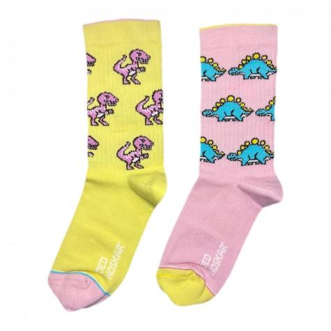 """Шкарпетки жовто-рожеві дитячі """"Динозаврики"""" Дед Носкарь"""