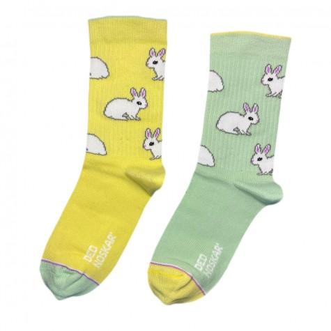 """Шкарпетки жовто-зелені дитячі """"Кролики"""" Дед Носкарь"""