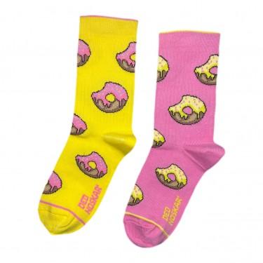 """Шкарпетки жовто-рожеві дитячі """"Пончики"""" Дед Носкарь"""