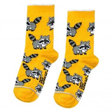 """Шкарпетки жовтогарячі дитячі """"Єноти"""" Дед Носкарь"""