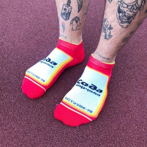 """Шкарпетки червоні """"Сода"""" короткі Дед Носкарь"""