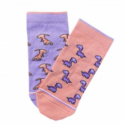 """Шкарпетки персиково-фіолетові """"Діно"""" короткі Дед Носкарь"""