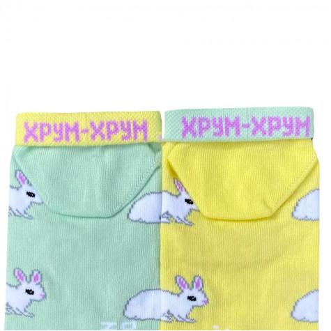 """Носки желто-зеленые """"Кролики"""" короткие Дед Носкарь"""