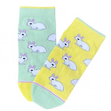"""Шкарпетки жовто-зелені """"Кролики"""" короткі Дед Носкарь"""