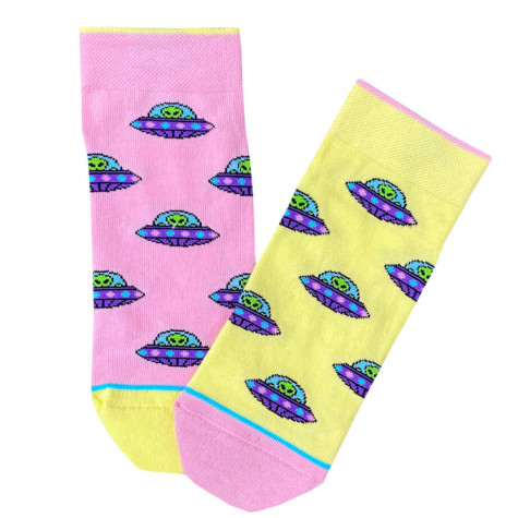 """Шкарпетки жовто-рожеві """"НЛО"""" короткі Дед Носкарь"""