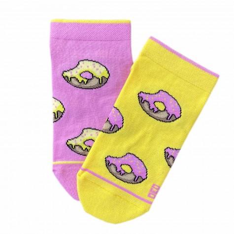 """Шкарпетки жовто-рожеві """"Пончики"""" короткі Дед Носкарь"""