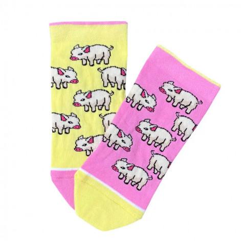 """Шкарпетки жовто-рожеві """"Поросятка"""" короткі Дед Носкарь"""