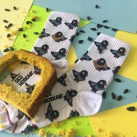 """Шкарпетки білі """"Голуби"""" Дед Носкарь"""