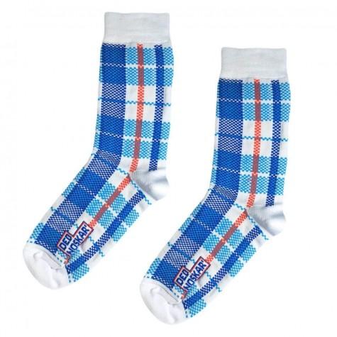 """Шкарпетки біло-блакитні """"Клітчаста сумка"""" Дед Носкарь"""