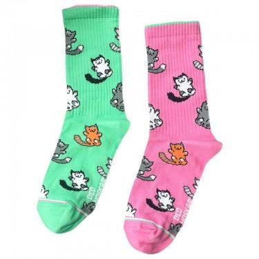 """Шкарпетки бірюзово-рожеві """"Котики"""" Дед Носкарь"""