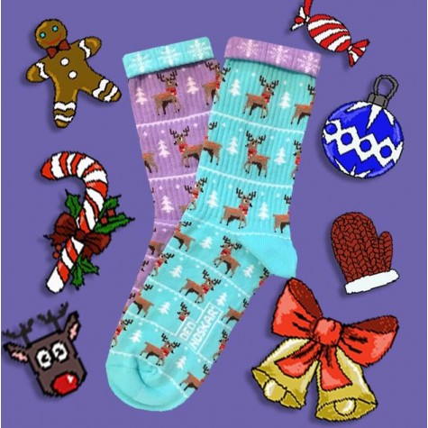 """Шкарпетки блакитно-фіолетові """"Олені"""" Дед Носкарь"""