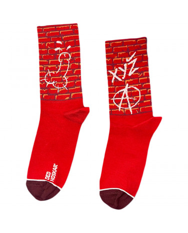 """Шкарпетки бордові """"Стріт Арт"""" Дед Носкарь"""