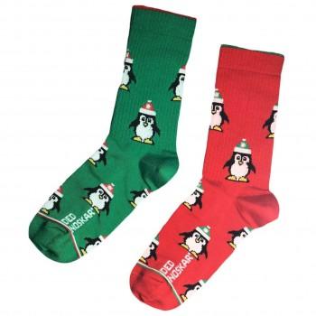 """Шкарпетки червоно-зелені """"Пінгвіни"""" Дед Носкарь"""