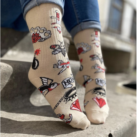 """Шкарпетки бежеві """"Кольорові Тату"""" Дед Носкарь"""