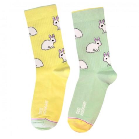 """Носки желто-зеленые """"Кролики"""" Дед Носкарь"""