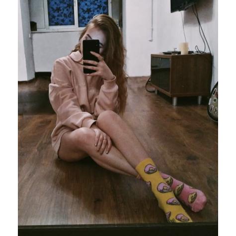 """Носки желто-розовые """"Пончик"""" Дед Носкарь"""