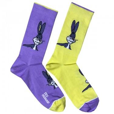 """Носки желто-фиолетовые """"Bugs Bunny мем"""" Дед Носкарь"""