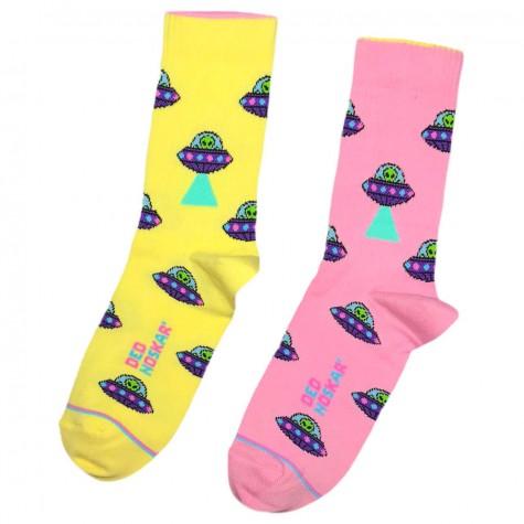 """Шкарпетки жовто-рожеві """"НЛО"""" Дед Носкарь"""