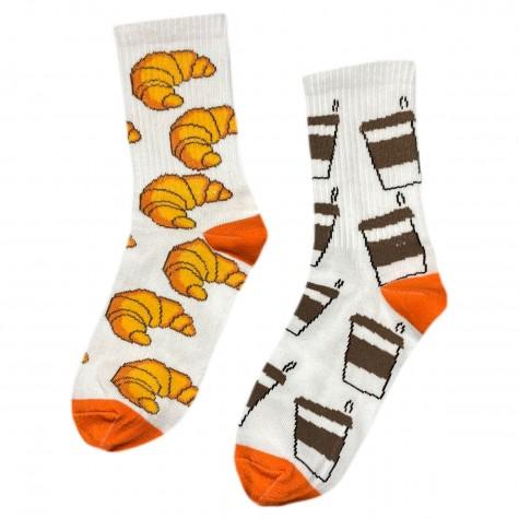 """Шкарпетки білі """"Кава - Круасан"""" Driftwood"""