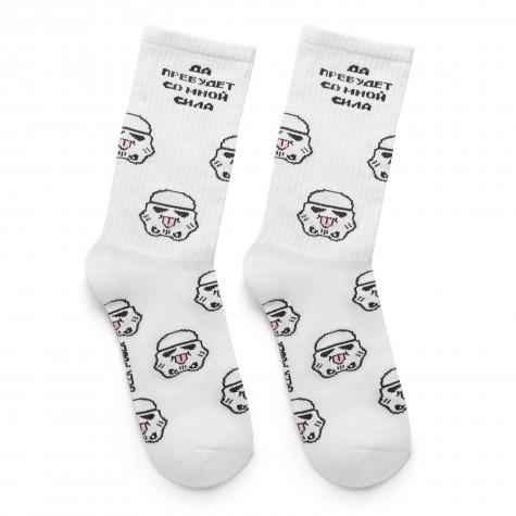 "Шкарпетки білі ""Да пребудет со мной сила"" Geek Power"