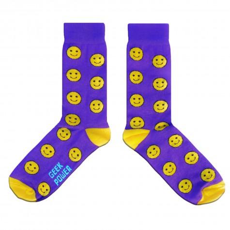 """Шкарпетки фіолетові """"Файний настрій (смайли)"""" Geek Power"""