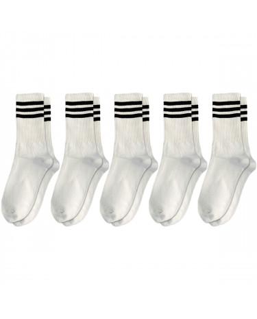 Набір шкарпеток 5 пар білі з чорними смугами Blankful