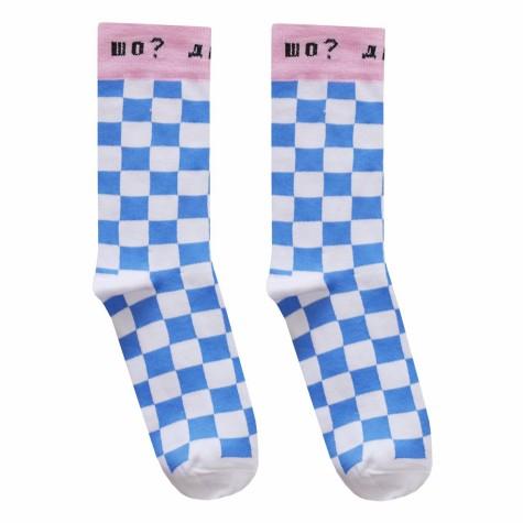 """Шкарпетки біло-блакитні """"Шо? Де? Ага"""" О, нет"""
