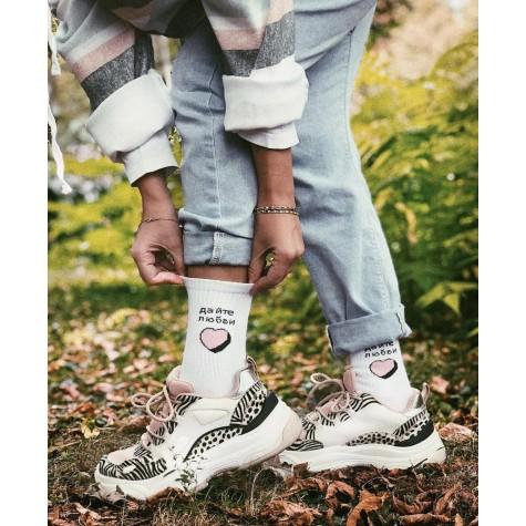 """Шкарпетки білі """"Дайте любви"""" О, нет"""