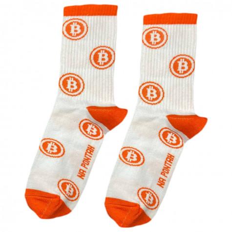 """Шкарпетки білі """"Bitcoin"""" Понти"""