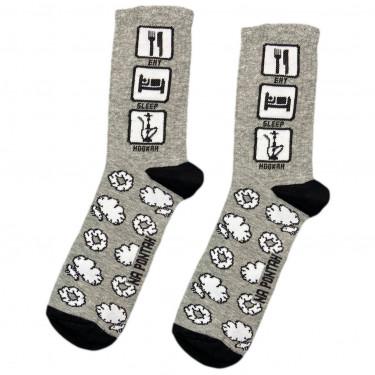 """Шкарпетки сірі """"Eat, Sleep, Hookah"""" Понти"""