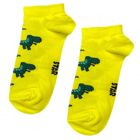 """Шкарпетки жовті """"Тиранозавр"""" короткі Socksstar"""