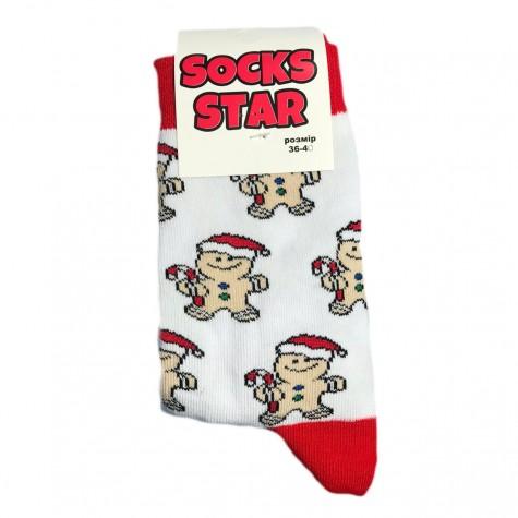 """Шкарпетки білі """"Різдвяний пряник"""" Socksstar"""